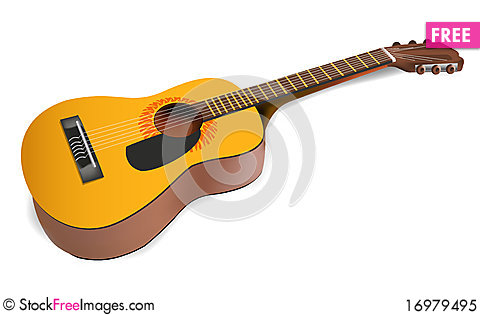 Free Realistic Acoustic Guitar Royalty Free Stock Photo - 16979495