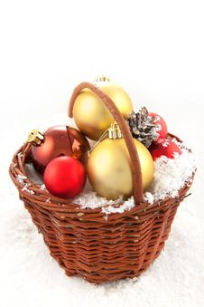 Free Christmas Toys In The Basket Royalty Free Stock Photography - 16971517