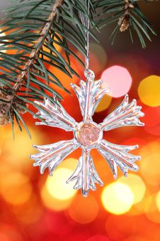 Free Snowflake On Branch Of Christmas Tree Stock Photo - 16972690