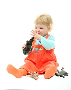 A Baby Playing With Toy Animals Isolated On White Stock Images