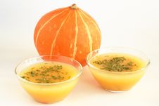 Free Two Bowls Of Hot Pumpkin Soup And Pumpkin On White Stock Images - 16973084