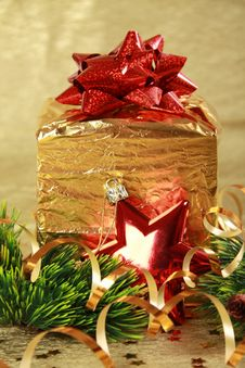 Golden Christmas Gift Box Stock Photos