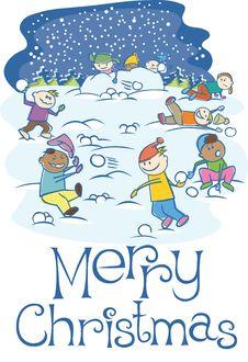 Free Kids Playing Snowballs On Xmas Royalty Free Stock Image - 16973476