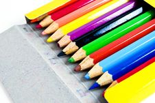 Free Used Color Pencils In Yellow Box Royalty Free Stock Photography - 16974117