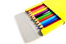 Free Used Color Pencils In Yellow Box Isolated Royalty Free Stock Image - 16974536
