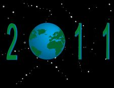 2011 With Globe And Stars Royalty Free Stock Images