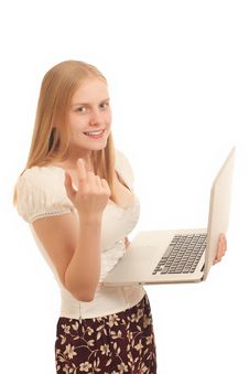 Free Businesswoman Holding Laptop Royalty Free Stock Photography - 16975047