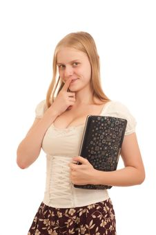 Free Young Businesswoman Holding Laptop Royalty Free Stock Image - 16975056