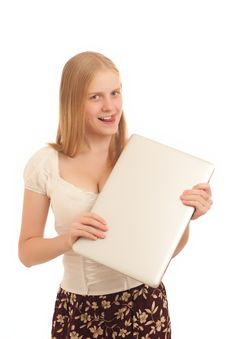 Free Businesswoman Holds Laptop Stock Image - 16975061