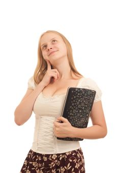 Free Carefree Businesswoman Holding Laptop Royalty Free Stock Photography - 16975067