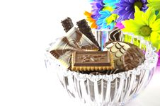Chocolate And Flowers Stock Photo