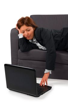 The Woman The Businessman Has Fallen Asleep Stock Photos