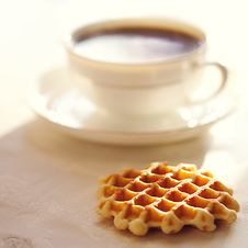 Free Hot Coffee With Wafers Royalty Free Stock Photos - 16975768
