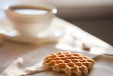 Free Hot Coffee With Wafers Stock Photography - 16975832