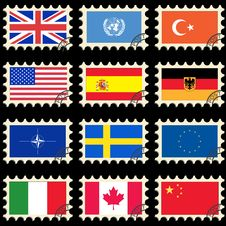 Free Flags On The Post Stamps Stock Photography - 16975922