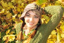 Free Woman In Yellow Autumn Leaves Royalty Free Stock Photo - 16975945