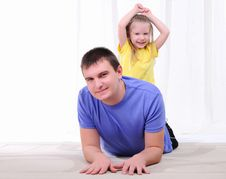 Free Young Father Has Fun With His Daughter Royalty Free Stock Photography - 16976047
