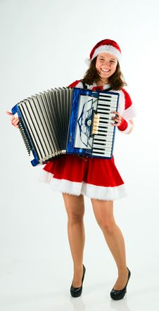 Free Woman Santa-klaus Plays For All An Accordion Stock Photography - 16976282