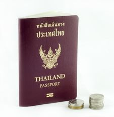Thai Passport Book And Thai Baht Coins Stock Images
