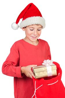 Free Adorable Child With Santa Hat Stock Photography - 16977882