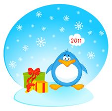 Free Cartoon Penguin With Gifts Stock Photography - 16977982