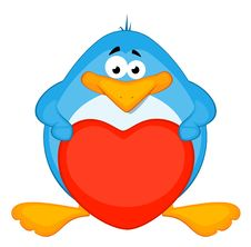 Free Cartoon Penguin With Heart Stock Photography - 16978032