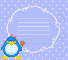 Free Cartoon Penguin With Flower Stock Images - 16978094