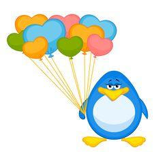 Free Cartoon Penguin With Balloon Royalty Free Stock Photography - 16978097