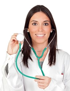 Free Attractive Brunette Doctor Royalty Free Stock Photo - 16978355