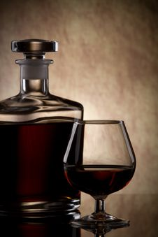 Free Cognac Glass And Bottle Stock Image - 16978391