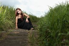 Free Asian Woman In The Meadow Royalty Free Stock Photography - 16978427