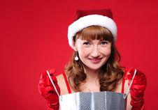 Free Young Girl Dressed As Santa Claus Stock Photos - 16978583