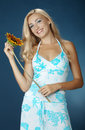 Free The Beautiful Girl With A Sunflower Royalty Free Stock Images - 16986359