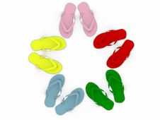 Free Colored Flip-flops Isolated On White Background Stock Photos - 16981633