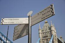 Signpost Beside Tower Bridge, London Royalty Free Stock Photos