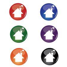 Christmas House Button Stock Photo