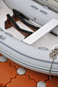 Inside Facilities Of A Rubber Light Boat Stock Images