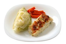 Free Codfish Baked With Cheese And Vegetables Stock Photo - 16982780