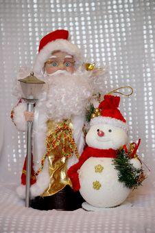 Free Santa Klaus And Snowman Royalty Free Stock Image - 16984646