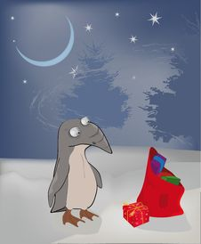 Free Winter A Penguin And Christmas Gifts Royalty Free Stock Image - 16984936