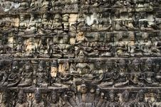 Free Detailed Khmer Angkor Wat Wall Royalty Free Stock Images - 16985299