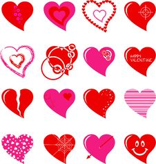 Free Hearts Set Stock Images - 16985614