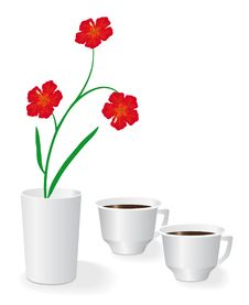 Free Flowers And Two Cups Of Coffee Royalty Free Stock Image - 16986626