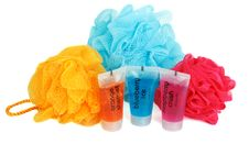 Free Set For Bath Colour Sponges Royalty Free Stock Image - 16987216