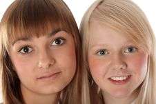 Portrait Two Girls Of The Blonde And Brunettes Stock Photography