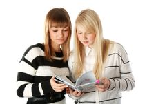Two Beautiful Girls Read Diary Book Stock Images