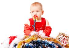 Free Baby In Santa Claus Hat Stock Photos - 16989023