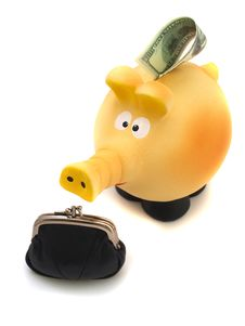 Piggy Piggy Bank With A Black Purse Stock Images