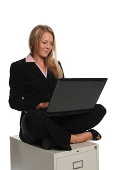 Free Young Businesswoman On A Laptop Computer Stock Image - 16989651
