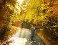 Free The Pregnant Woman Walks On Autumn Park Stock Photo - 16999010